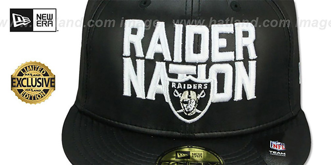 6b7f72785 ... Raiders  RAIDER-NATION LEATHER  Black Fitted Hat by New Era ...