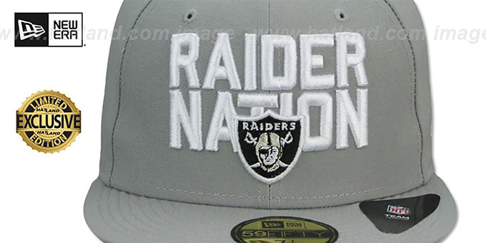 Raiders 'RAIDER-NATION' Light Grey-White Fitted Hat by New Era