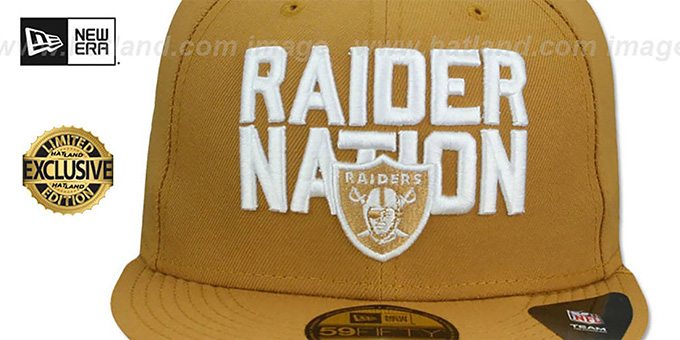 f18f39660 ... Raiders  RAIDER-NATION  Panama Tan-White Fitted Hat by New Era ...