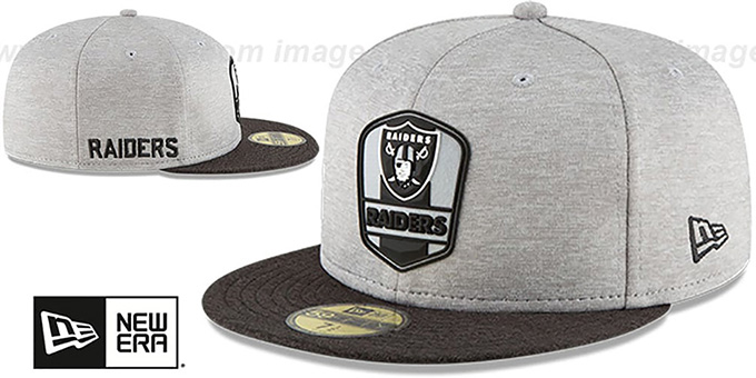 Raiders 'ROAD ONFIELD STADIUM' Grey-Black Fitted Hat by New Era