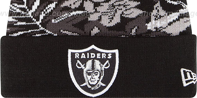 Raiders 'SNOW-TROPICS' Black Knit Beanie Hat by New Era