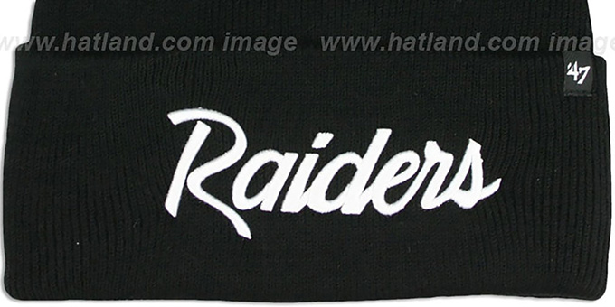 Raiders 'TEAM-SCRIPT' Black-White Knit Beanie Hat by Twins 47 Brand
