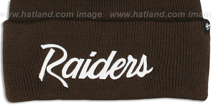 Raiders 'TEAM-SCRIPT' Brown-White Knit Beanie Hat by Twins 47 Brand