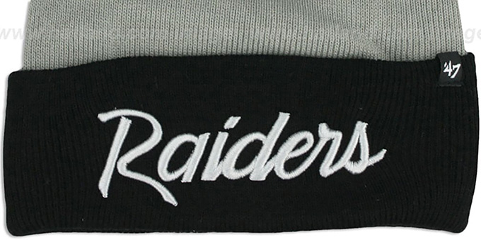 Raiders 'TEAM-SCRIPT' Grey-Black Knit Beanie Hat by Twins 47 Brand