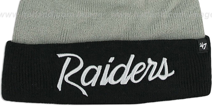 Raiders 'TEAM-SCRIPT POM' Grey-Black Knit Beanie Hat by Twins 47 Brand
