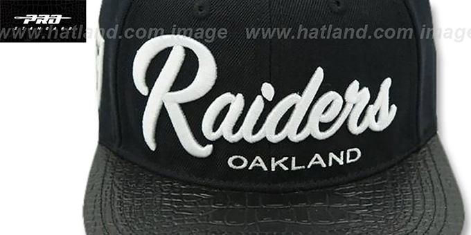 9ed3677664a ... Raiders  TEAM-SCRIPT STRAPBACK  Black Hat by Pro Standard ...
