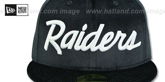 Raiders 'TEAM-SCRIPT VELOUR' Black Fitted Hat by New Era