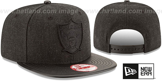 Raiders 'THROWBACK LEATHER-MATCH SNAPBACK' Black Hat by New Era