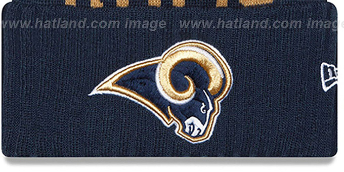 Rams '2015 STADIUM' Navy-Gold Knit Beanie Hat by New Era