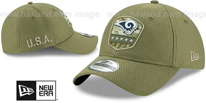 Rams '2019 SALUTE-TO-SERVICE STRAPBACK' Olive Hat by New Era