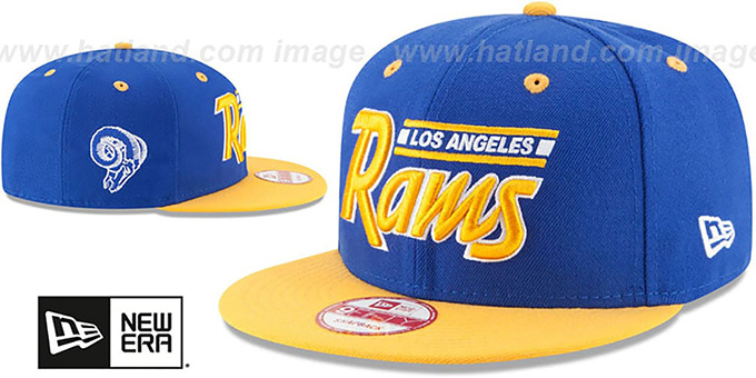 Rams '2T RETRO-SCRIPT SNAPBACK' Royal-Gold Hat by New Era