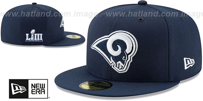 Rams 'NFL SUPER BOWL LIII ONFIELD' Navy Fitted Hat by New Era