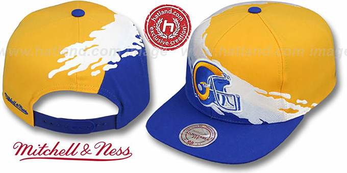 Rams 'PAINTBRUSH SNAPBACK' Gold-White-Royal Hat by Mitchell & Ness