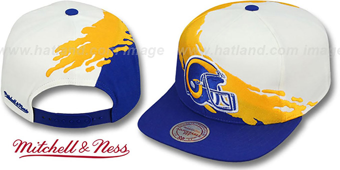 Rams 'PAINTBRUSH SNAPBACK' White-Gold-Royal Hat by Mitchell & Ness