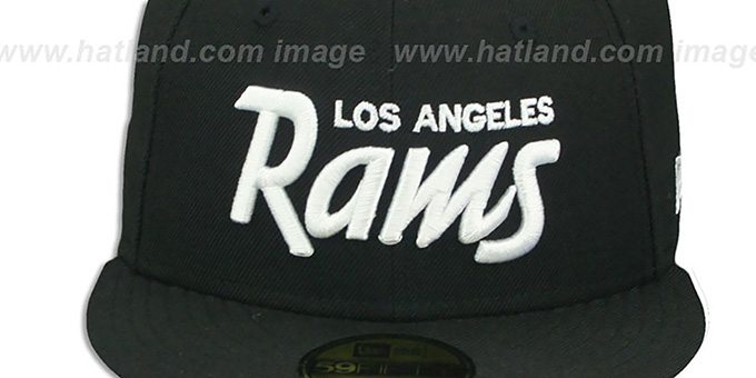 Rams 'SCRIPT TEAM-BASIC' Black-White Fitted Hat by New Era