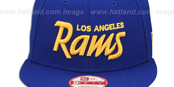 Rams 'SCRIPT TEAM-BASIC SNAPBACK' Royal-Gold Hat by New Era