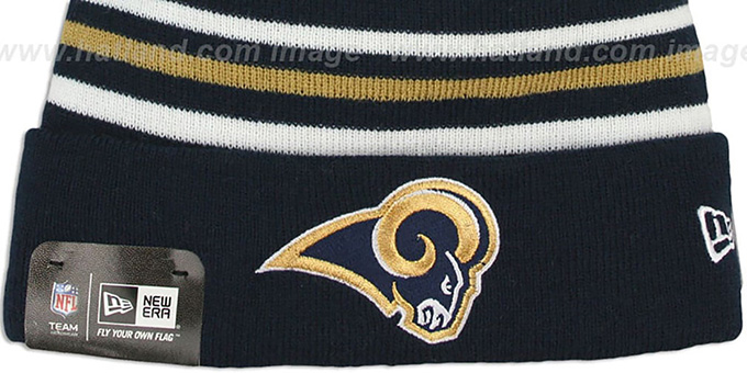 Rams 'STRIPEOUT' Knit Beanie Hat by New Era