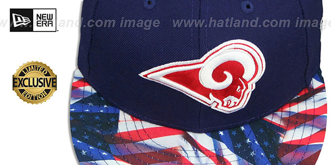 Rams 'USA WAVING-FLAG' Navy Fitted Hat by New Era