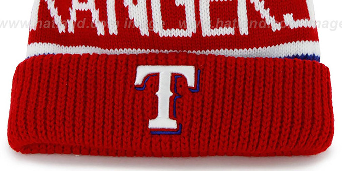 Rangers 'THE-CALGARY' Red-Royal Knit Beanie Hat by Twins 47 Brand
