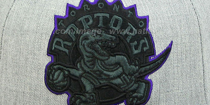 Raptors '2T XL-LOGO FADEOUT' Grey-Black Fitted Hat by Mitchell & Ness
