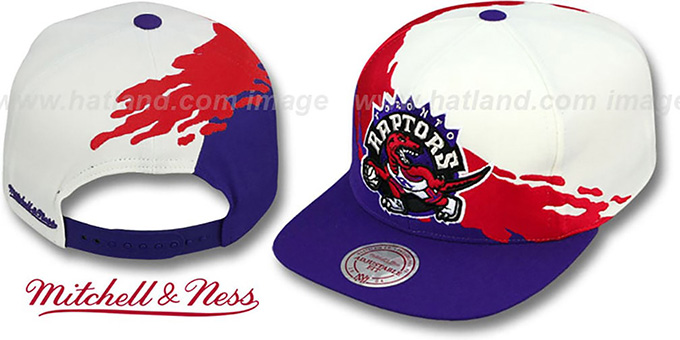 Raptors 'PAINTBRUSH SNAPBACK' White-Red-Purple Hat by Mitchell & Ness