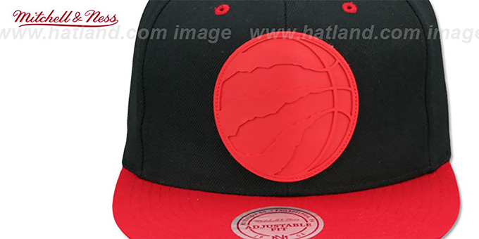 Raptors 'XL RUBBER WELD SNAPBACK' Black-Red Adjustable Hat by Mitchell and Ness
