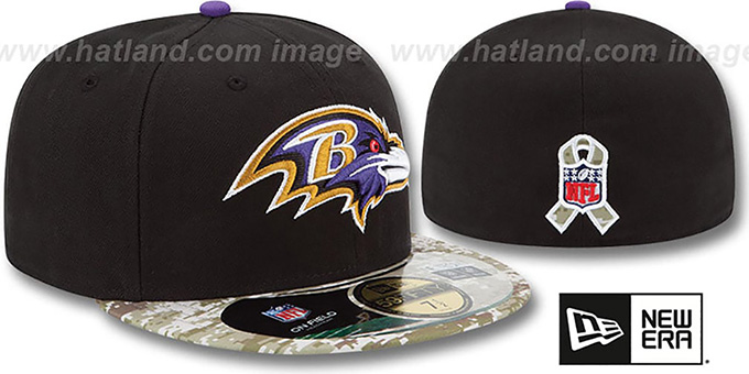 Ravens '2014 SALUTE-TO-SERVICE' Black-Desert Fitted Hat by New Era