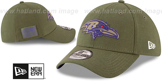 Ravens '2018 SALUTE-TO-SERVICE FLEX' Olive Hat by New Era
