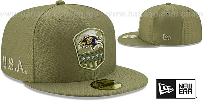 Ravens '2019 SALUTE-TO-SERVICE' Olive Fitted Hat by New Era