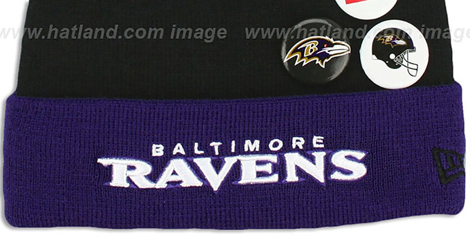 Ravens 'BUTTON-UP' Knit Beanie Hat by New Era