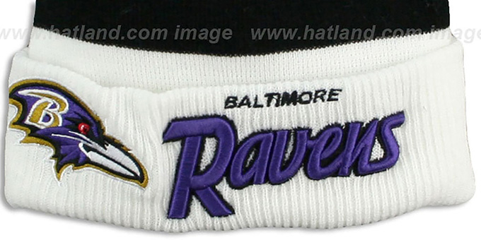 Ravens 'CUFF-SCRIPTER' White-Black-Purple Knit Beanie Hat by New Era