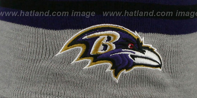 Ravens 'GREY STRIPETOP' Knit Beanie Hat by New Era
