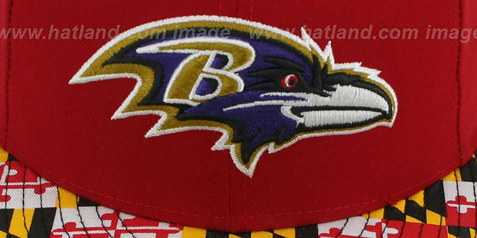 b5a2f070dc31cf Baltimore Ravens MARYLAND-FLAG Red Fitted Hat by New Era