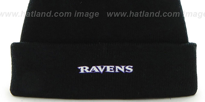 Ravens 'POMPOM CUFF' Black Knit Beanie Hat by Twins 47 Brand