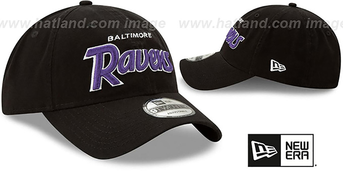 Ravens 'RETRO-SCRIPT SNAPBACK' Black Hat by New Era