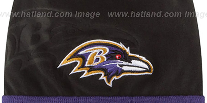 Ravens 'TECH-KNIT STADIUM' Black-Purple Knit Beanie Hat by New Era