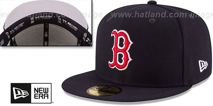 Red Sox 8X 'TITLES SIDE-PATCH' Navy Fitted Hat by New Era