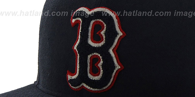 Red Sox COOP 'CATERPILLAR' Navy Fitted Hat by 47 Brand
