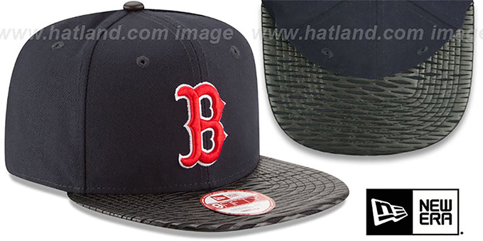 Red Sox 'LEATHER-RIP SNAPBACK' Navy-Black Hat by New Era