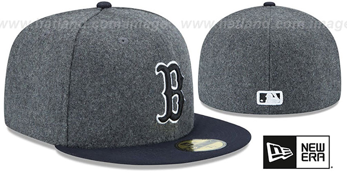 Red Sox 'SHADER MELTON' Grey-Navy Fitted Hat by New Era