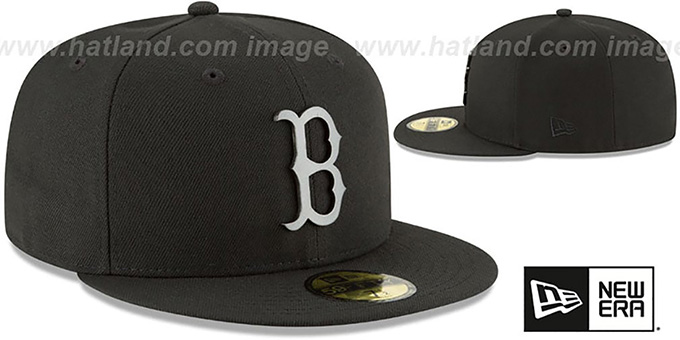 Red Sox 'SLEEKED BLACK METAL-BADGE' Black Fitted Hat by New Era