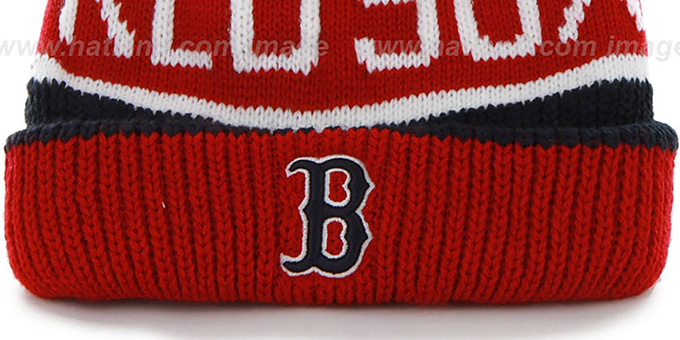 Red Sox 'THE-CALGARY' Red-Navy Knit Beanie Hat by Twins 47 Brand