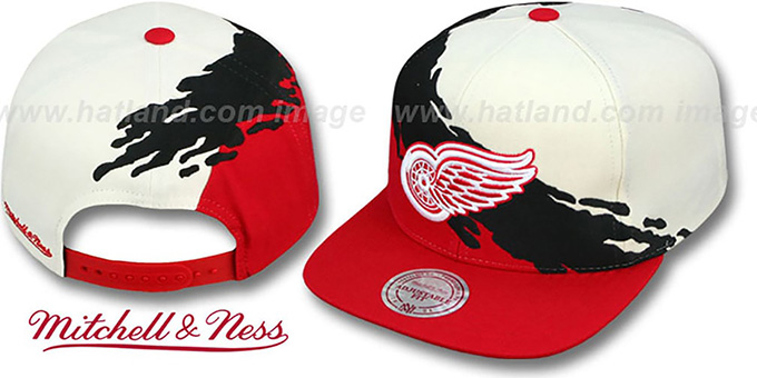 ab989c338e1 ... Red Wings  PAINTBRUSH SNAPBACK  White-Black-Red Hat by Mitchell   Ness  ...