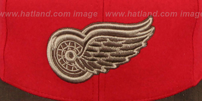 1d0ffbfe3b7 Detroit Red Wings TC-BROWN SUEDE STRAPBACK Hat Mitchell   Ness