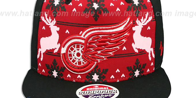 Red Wings 'UGLY SWEATER SNAPBACK' Black-Red Hat by Zephyr