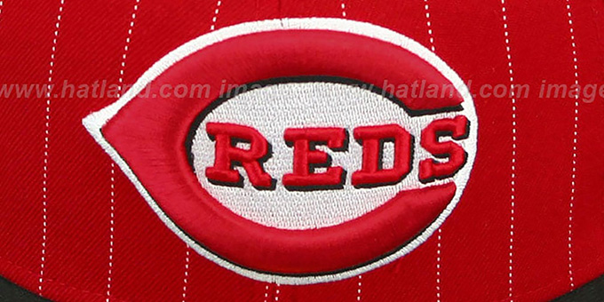 Reds 'PIN-SCRIPT' Red-Black Fitted Hat by New Era