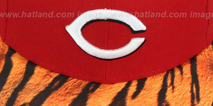 Reds 'REAL TIGER VIZA-PRINT' Red Fitted Hat by New Era