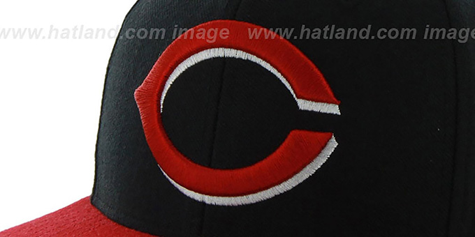Reds 'SURE-SHOT SNAPBACK' Black-Red Hat by Twins 47 Brand