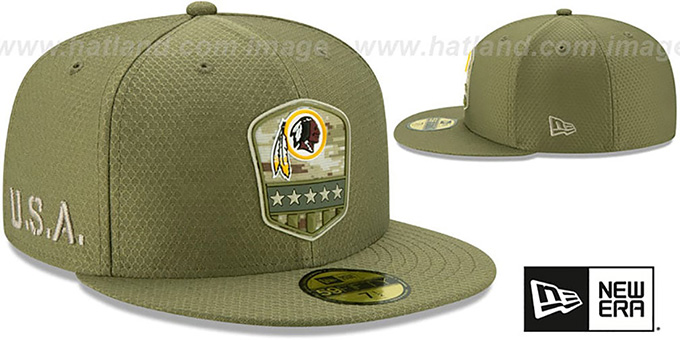Redskins '2019 SALUTE-TO-SERVICE' Olive Fitted Hat by New Era