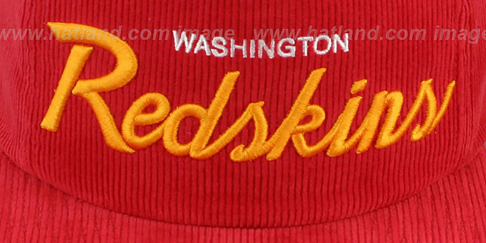 Redskins 'CORD-SCRIPT STRAPBACK' Burgundy Hat by Mitchell and Ness